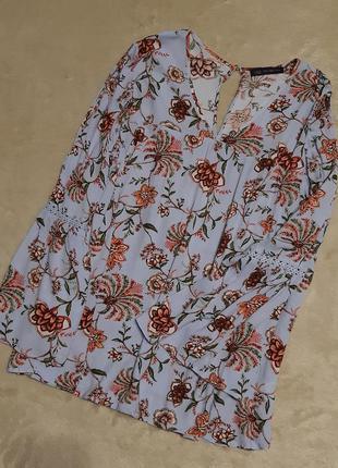 Блузка свободный стиль с разрезами на рукаве цветочный принт  ...