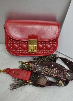 Кожаная сумка клатч в стиле диор dior красный