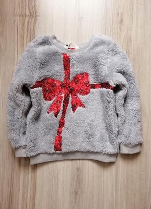 Новогодняя праздничная кофта свитер для девочки h&m hm