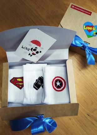 Подарочный набор мужской носки 3 шт. superman, marvel звезда, ...