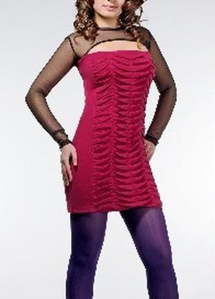 Платье женское коктейльное трикотаж-сетка, платье теплое нарядное