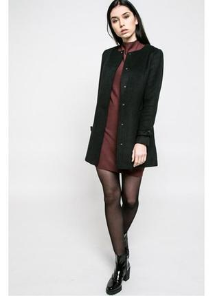 Черное пальто тренч прямого покроя шерсть деми  классика