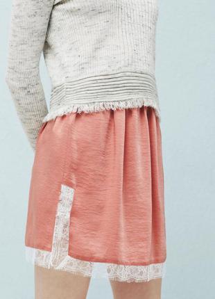 Атласная пудровая юбка  mango