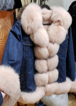 Джинсовая парка куртка с натуральным песцом и утеплителем из к...