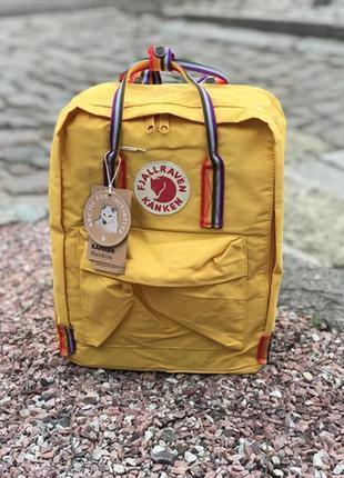 Рюкзак fjallraven kanken фьялравен fjällräven желтый с радужны...