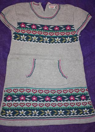 Платье трикотажное для девочки р-110/116 в хорошем состоянии