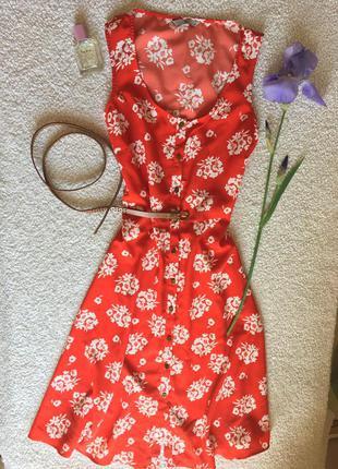 Красное платье миди. сарафан - халат