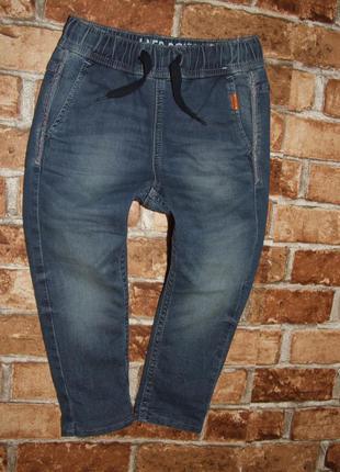 джинсы джоггеры мальчику 3 - 4 года на подкладке теплые нм