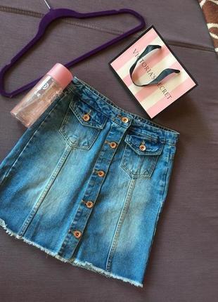 Актуальная джинсовая юбка на пуговицах спереди denim&co