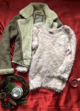 Волосатый , мягенький пудровый свитер