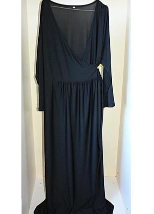 Длинное черное платье в пол на запах с завязкой батал большой ...
