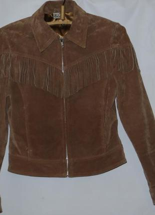Деми куртка с бахромой, натуральная замша