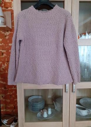 Пудровый тёплый пуловер большого размера