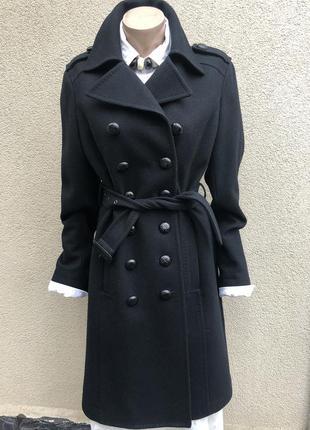 Чёрное,шерстяное пальто под пояс,италия,
