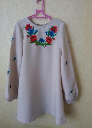 Платье вышиванка на 5-6 лет р.116 ручная работа