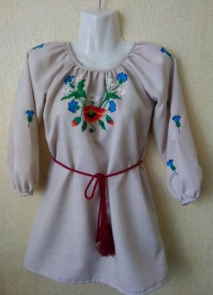Платье вышиванка на 7 лет р.122 ручная работа