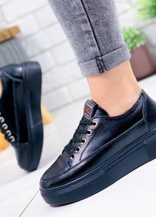 ❤ женские черные кожаные кроссовки ❤