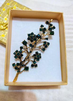 Брошь ветка /зеленые кристаллы