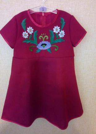 Платье вышиванка на 1-2 года р.86 ручная работа