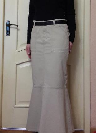 Бежевая длинная юбка в пол