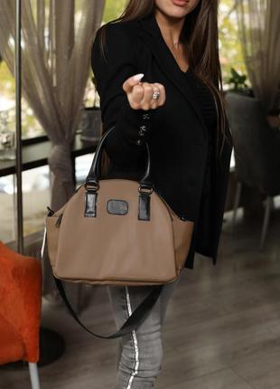 Женская тканевая спортивная сумка кофейная