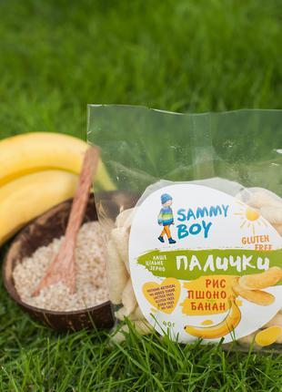 Палочки Рисовые Sammy Boy «Рис+Пшоно+Банан», Безглютеновый Снек