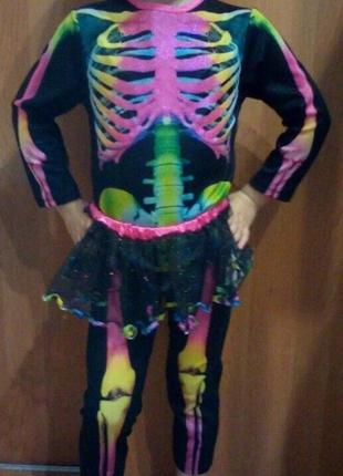 Карнавальный костюм скелет разноцветный с юбкой на хэллоуин