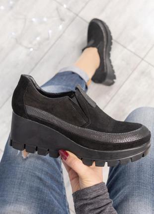 ❤ женские черные замшевые туфли на танкетке ❤