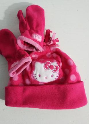 Распродажа! флис комплект   шапка варежки на девочку  hello ki...