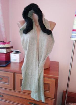 Шапка-шарф два в одном с искусственным мехом