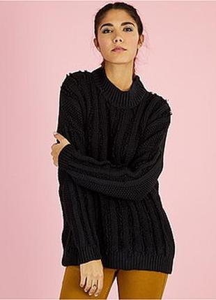 Вязаный свитер джемпер с бахромой французского бренда kiabi, с...