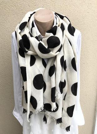 Большой белый шарф в чёрные горохи,палантин,платок