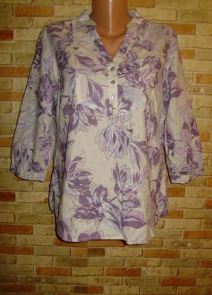 Льняная рубашка блуза лен-хлопок 16/50-52 размера