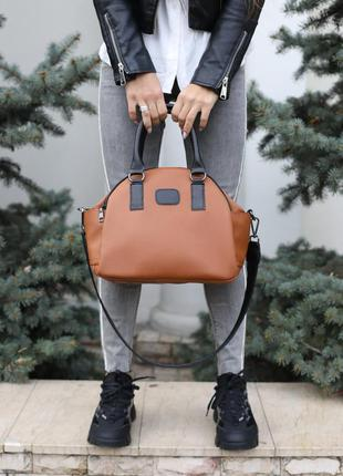 Женская тканевая спортивная сумка рыжая