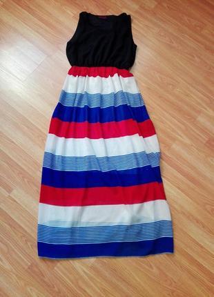 Классное летнее платье сарафан в морском стиле в полоску