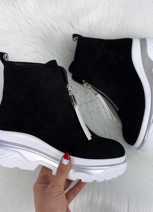 ❤ женские черные весенние деми ботинки ботильоны на флисе ❤