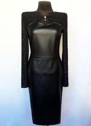 Суперцена. стильное черное платье, кожа и гипюр. новое, р. m/4...