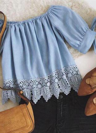 Стильная голубая блуза рубашка свободного кроя