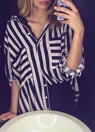 Рубашка в полоску свободного кроя