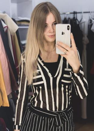 Блуза- рубашка в полоску из крепшифона с топом в комплекте