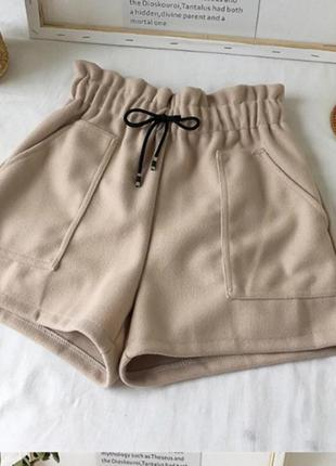 Теплые шорты  с высокой талией
