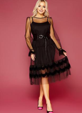 Черное платье с сеткой с пояском