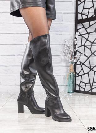 ❤ женские черные весенние деми кожаные высокие сапоги полусапо...