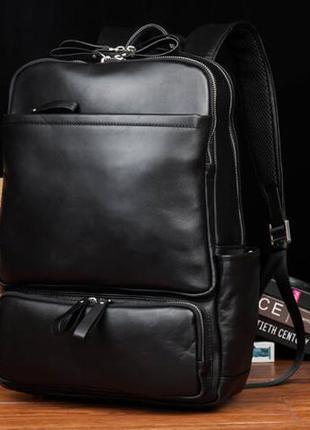 Рюкзак кожаный мужской для ноутбука вместительный стильный casual