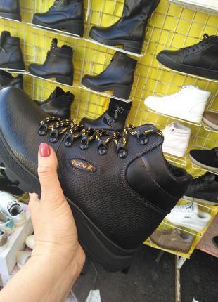 Мужские ботинки кожаные зимние черные anser 150