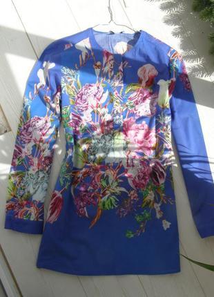 Peter hahn блуза с цветами 100% хлопок 14-размер. оригинал