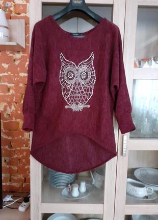 Тёплый пуловер с совушкой большого размера