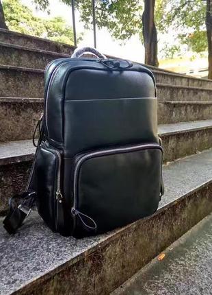Рюкзак кожаный мужской для ноутбука вместительный функциональный