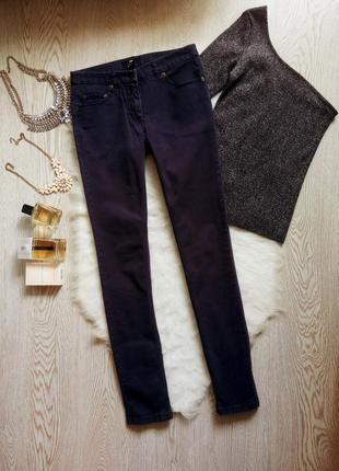 Темные синие джинсы скинни узкачи американки почти черные кроп