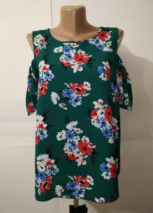 Блуза зеленая красивая в цветы с открытыми плечами new look uk...